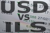 Usd sign and sraeli new shekel sign on PC screen — Stock Photo