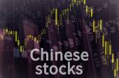 Downtrend candlestick chart and inscription Chinese stocks — Stock Photo