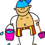 Beach kid cartoon — Stock Vector #64287491