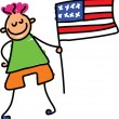 Boy holding American flag — Stock Vector #64287513