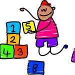 Building blocks boy cartoon — Stock Vector #64288507