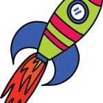 Comic Rocket Ship — Stock Vector #64289823