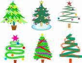Colourful Christmas trees — Vector de stock