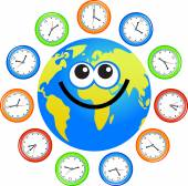 Lachende Globe en klokken — Stockvector