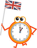 Clock with a flag of Great Britain — Stock Vector