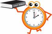 Bible  book and clock — Stock Vector