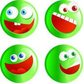 Green smiling face button — Stock vektor