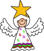 Cute, hand drawn style cute angel holding star — Stockvektor