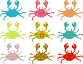 Set of patterned crab silhouettes — Stock Vector
