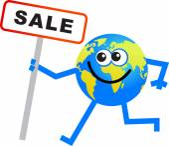 Sale globe cartoon — Stock Vector