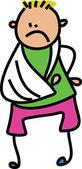 Cartoon boy with a broken arm. — Stock Vector