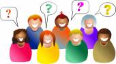 Group questions with speech-bubbles — Stock Vector