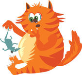 Ginger Cat with a mouse — Stock Vector