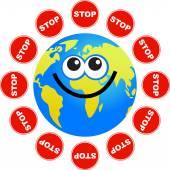 Stop globe cartoon — Stock Vector