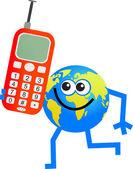 Mobile globe cartoon — Stock Vector