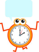 Speech bubble and clock with hands — Stock Vector