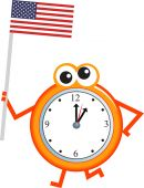 United States of America flag and clock — Stock Vector