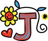 Whimsical Cartoon Alphabet Letter — Stok Vektör