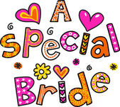 Cartoon text that reads A SPECIAL BRIDE. — Stock Vector