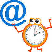 Email sign and clock — Stock Vector