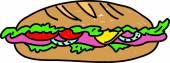 A colorful cartoon Sub Sandwich — Vector de stock