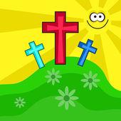 Colourful easter crucifix cross design — Stock Vector
