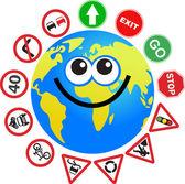 Sign globe cartoon — Stock Vector