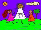 Dibujos animados de niños Santísima — Vector de stock