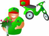 Floral delivery with scooter — ストックベクタ