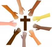 Hands  reaching out to the cross — Stock Vector