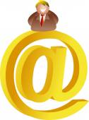Email man sitting on the email-sign — Stock Vector