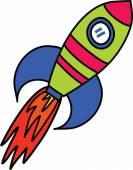 Comic Rocket Ship — Stock Vector