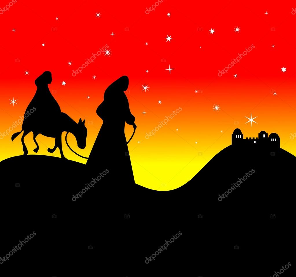 mary and joseph travelling on a donkey  u2014 stock vector