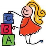 Building blocks girl cartoon — Stock Vector #64298467