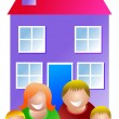 Happy family with home — Stock Vector #64291101