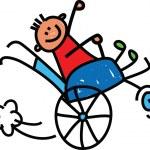 Handicapped little boy. — Stock Vector #64291857