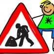 Boy standing next to a MEN AT WORK traffic sign. — Stock Vector #64292155