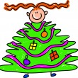 Kid Decorating a Christmas Tree — Stock Vector #64293787