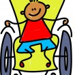 Handicapped little boy. — Stock Vector #64296493