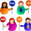 Diverse people with different signs — Stock Vector #64296695