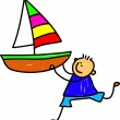 Little boy holding a large toy boat. — Stock Vector #64297045