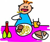 Boy and  lunch cartoon — Stock Vector