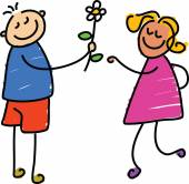 Boy and girl with flower — Stock Vector