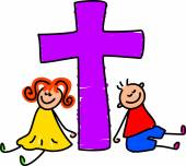Happy Christian Children around a cross. — Stock Vector