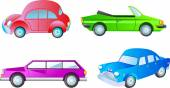 Four colorful vehicles — Stock Vector
