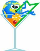 Cocktail Glasswith der Erde — Stockvektor
