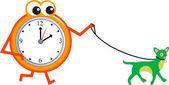 Cartoon clock with  dog — Stock Vector