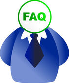 Man with the FAQ face — Stock Vector