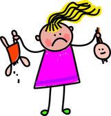 Little girl holding up her broken doll. — Stock Vector