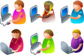 Male and female  kids using computers — Cтоковый вектор